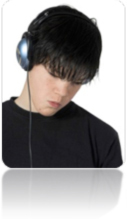 Teen boy wearing audio headset.